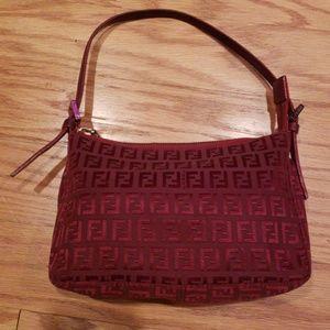 Fendi Red Zucchino Canvas Handbag
